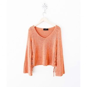 minkpink rusty salmon lace-up sides sweater
